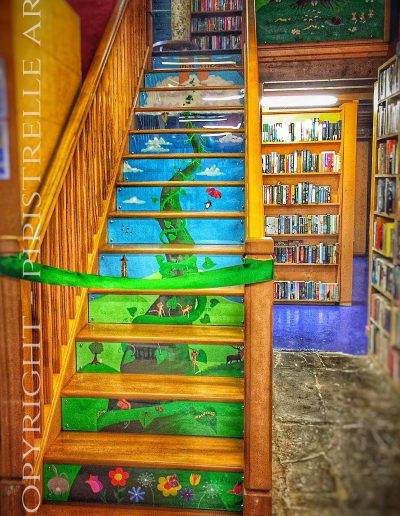 Astley Book Farm. Mural of a Beanstalk heading up the stairs to the Children's Hayloft at Astley Book Farm. Plus the large painting at the top of the stairs.