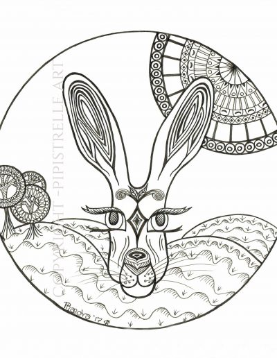 Mystic Hare. Ink drawing