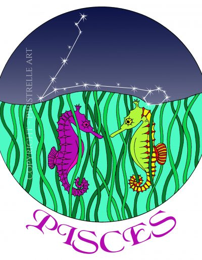 Pisces, I love sea horses they are so pretty.  with constellation